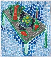 tan table with lemons (blue background) by jerry mischak