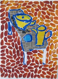 tan table with yellow pitcher (orange background) by jerry mischak
