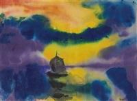meer mit abendhimmel und segelboot by emil nolde