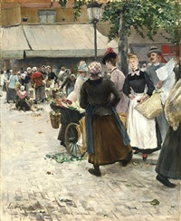 the flower market by norbert goeneutte