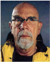 self-portrait (yellow raincoat) by chuck close