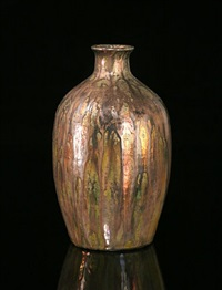 iridescent bottle form vase by de porceleyne fles