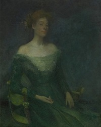 lydia in green by thomas wilmer dewing