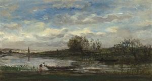 pêcheur remontant sa barque by charles françois daubigny