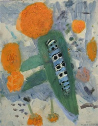 study for mullein moth caterpillar on leaf of buddlea globosa by mary newcomb