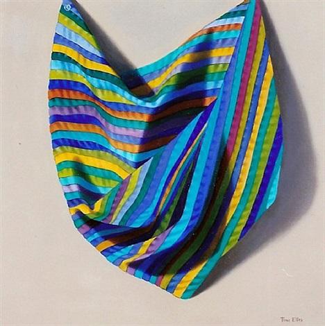 blue striped drapery by toni ellis