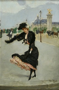 eléguant devant le petit palais sur le pont alexandre iii by jean béraud