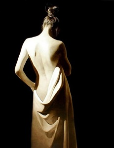 girl with white drape by toby boothman