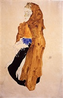 girl with yellow shawl by egon schiele