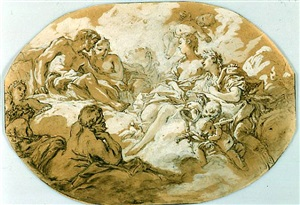 vénus presenting aeneas to jupiter and juno by françois boucher