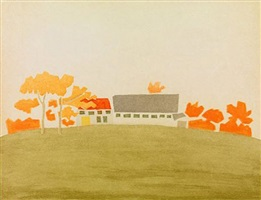 house and barn by alex katz