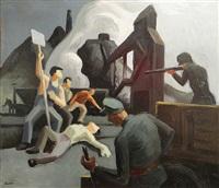 mine strike, pittsburgh pa (waiting on verso) by thomas hart benton