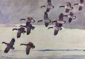 flock of geese in flight by frank weston benson