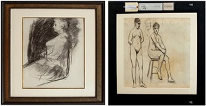 elizabeth griffiths smith hopper (recto)<br/>two female nudes (verso) by edward hopper