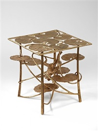 table lotus et singe carrée en bronze by claude lalanne