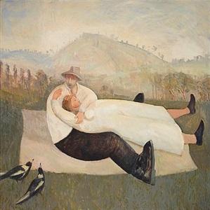 lovers on a hillside by glen preece
