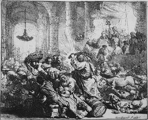 christ driving the money changers from the temple by rembrandt van rijn