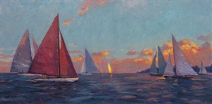 sunset gathering (sold) by leonard mizerek