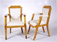 paire de fauteuils en hêtre / pair of beech-tree armchairs by germaine-irene darbois-gaudin