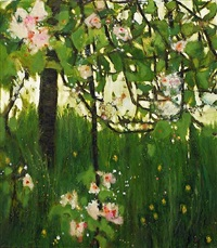 apple tree with dandelions by katherine bowling