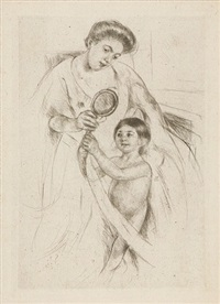 looking into the hand mirror (no. 3) by mary cassatt