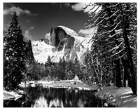half dome, merced rover, winter, yosemite by ansel adams