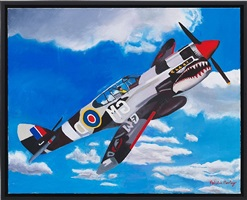 p-40 warhawk soaring by malcolm morley