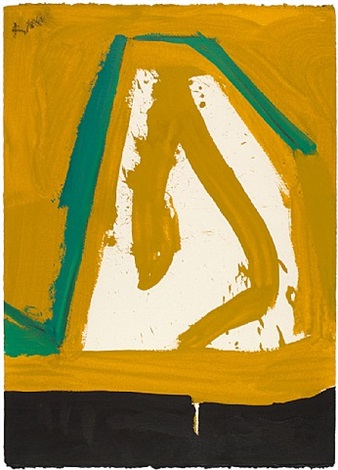 untitled (ochre, black, green) by robert motherwell