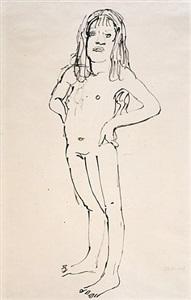 standing nude girl by oskar kokoschka