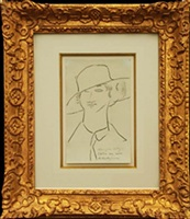 young woman in a broad hat by amedeo modigliani