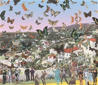 the butterfly man in hollywoodland - homage to damien hirst by peter blake