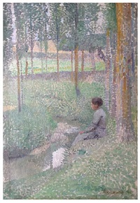 woman seated by a river bank by henri jean guillaume martin