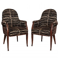 pair of rosewood fauteuils by émile jacques ruhlmann