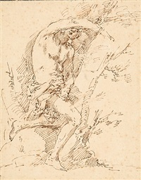 study for the figure of st. sebastian by salvator rosa