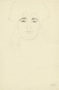 study of a woman's head (recto) – standing woman with a stole (verso) by gustav klimt