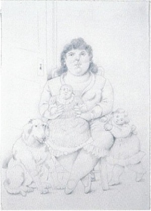 woman with children by fernando botero