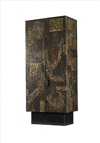 bronze, copper and pewter patchwork cabinet by paul evans