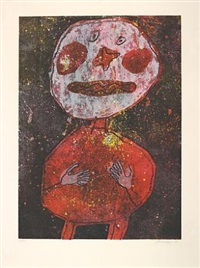 personnage au costume rouge by jean dubuffet