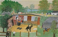 making horseshoes © grandma moses properties co., new york by grandma moses
