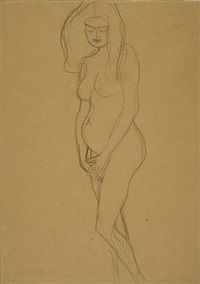standing pregnant woman, facing left by gustav klimt