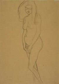 standing pregnant woman, facing left by gustav klimt