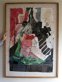 rare large collage by peter voulkos