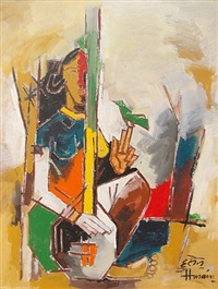 lady with veena by maqbool fida husain