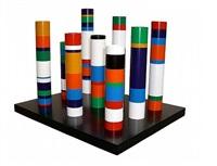 sculpture de table (cylindres polychromes) by guy de rougemont