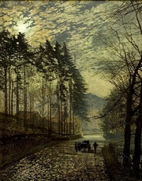 near hackness, a moonlit scene with pine trees by john atkinson grimshaw