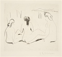 three bathers by the moritzburg lakes by ernst ludwig kirchner