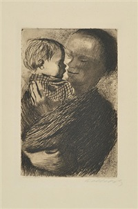 mother holding child in her arms by käthe kollwitz