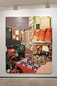 interior: fireplace with monet tiles by mickalene thomas