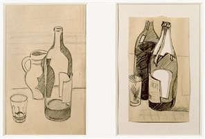 nature morte au verre, pichet et bouteille (still- life with glass, pitcher and bottle); nature morte aux deux bouteilles (still life with two bottles) by julio gonzález