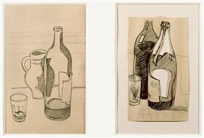 nature morte au verre, pichet et bouteille (still- life with glass, pitcher and bottle); nature morte aux deux bouteilles (still life with two bottles) by julio gonzález